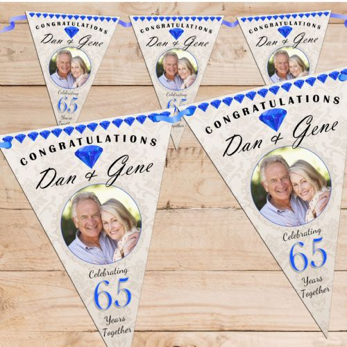 Personalised Sapphire 65th Wedding Anniversary Celebration PHOTO Flag Banner Bunting - N57